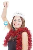 Lächelnde junge Frau mit Filterstreifen Stockfoto
