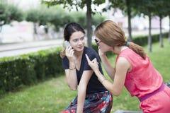 Lächelnde junge Mädchen mit dem Handy, der auf einer Bank in einem Park sitzt Stockbilder