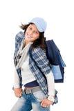 Lächelnde kühle Ausstattungsschultasche der weiblichen Jugendlichabnutzung Lizenzfreie Stockfotografie