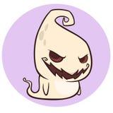 Lächelnde Karikatur des frechen Geistes Glückliches Halloween Stockfoto
