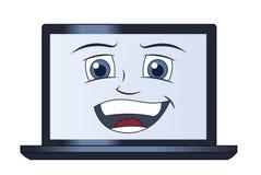 Lächelnde Laptop-Computer Stockfotos
