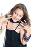 Lächelnde Mädchenaufstellung Lizenzfreie Stockfotos