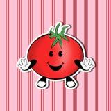 Lächelnde nette Tomate auf einem netten Hintergrund lizenzfreie stockfotografie