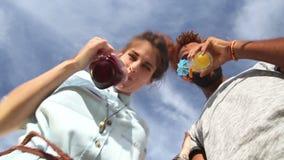 Lächelnde Paare, die unten den Kamera-, Rösten und Trinkencocktails betrachten stock video