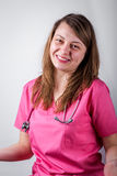 Lächelnde Porträtmalerei der jungen Ärztin Lizenzfreies Stockbild
