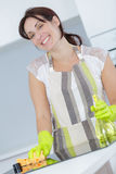 Lächelnde Reinigung der schönen Frau in der Küche Lizenzfreies Stockfoto