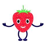 Lächelnde rote Erdbeere der Vektorzeichentrickfilm-figur Lizenzfreie Stockfotografie