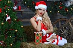 Lächelnde Sankt-Frau der Schönheit nahe dem Weihnachtsbaum Stockfotografie