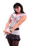 Lächelnde schöne Brunettefrau mit Sonnenbrillen Lizenzfreie Stockfotografie