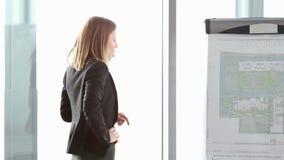 Lächelnde schöne Geschäftsfrau, die Darstellung unter Verwendung des flipchart gibt stock video footage