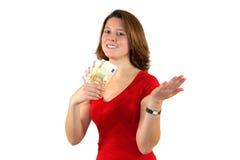 Lächelnde schöne Geschäftsfrau mit Eurorechnungen Lizenzfreies Stockbild