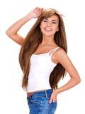 Lächelnde schöne indische Frau mit dem langen Haar Stockbilder