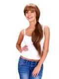 Lächelnde schöne indische Frau mit dem langen Haar Stockfotos