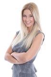 Lächelnde schöne junge Geschäftsfrau über weißem Hintergrund. Stockfoto