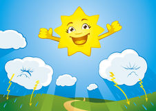 Lächelnde Sonne Stockfotos