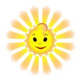 Lächelnde Sonne mit lebhaften Strahlen Stockfoto