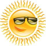 Lächelnde Sonne mit Sonnenbrilleabbildung Stockbild