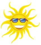 Lächelnde Sonne mit Sonnenbrillen Lizenzfreie Stockbilder