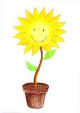 Lächelnde Sun-Blumenwasserfarbe Stockfotos