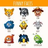 Lächelnde Tiere neun verschiedene Charaktere lizenzfreie abbildung