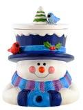 Lächelnde und tragende Winterkleidung des keramischen Schneemanns Lizenzfreies Stockbild