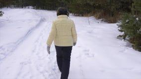 Lächelnde und wellenartig bewegende Hand der älteren Frau während des Gehens in Winterwald stock video