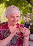 Lächelnde wählende Telefonnummer der älteren Frau lizenzfreies stockfoto