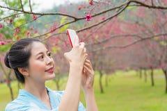 Lächelnde weibliche touristische Besichtigung in Japan Stockfotografie