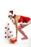 Lächelnde Weihnachtsfrau Stockbild
