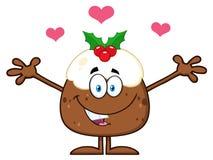 Lächelnde Weihnachtspudding-Zeichentrickfilm-Figur mit den offenen Armen und den Herzen lizenzfreie abbildung
