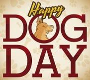 Lächelnde Welpen-Porträt-in der Hand gezeichnete Art für Hundstag, Vektor-Illustration stock abbildung