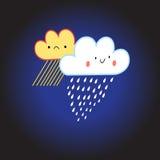 Lächelnde Wolke mit Regen und Schnee Stockbild