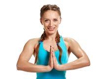 Lächelnde Yogafrau Stockbilder