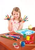 Lächelnde Zeichnungsabbildung des kleinen Mädchens Stockbilder