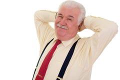 Lächelnder älterer Geschäftsmann stockbild