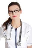 Lächelnder Arzt oder Krankenschwester. Stockfoto