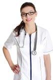 Lächelnder Arzt oder Krankenschwester. Stockfotos