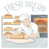 Lächelnder Bäcker Rolling Pastry Illustration Lizenzfreie Stockfotos