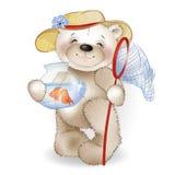 Lächelnder Bär in einem Strohhut, der mit einem Fisch im Topf steht Lizenzfreie Stockfotos