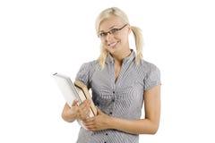 Lächelnder blonder Kursteilnehmer Lizenzfreies Stockfoto