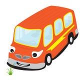 Lächelnder Bus der Karikatur, der eine Blume riecht Stockbilder