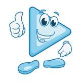Lächelnder Charakter des Spielknopfes Stockfotos
