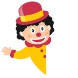 Lächelnder Clown und leere Fahne Stockfotografie