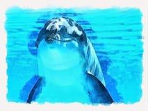 Lächelnder Delphin im blauen Wasser stock abbildung