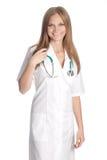 Lächelnder Doktor auf weißem Hintergrund Lizenzfreie Stockbilder