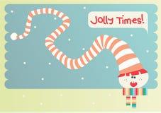 Lächelnder Elf mit Regenbogenkleidung und lustigem Hut Stockfotografie