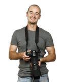 Lächelnder Fotograf lizenzfreie stockfotografie