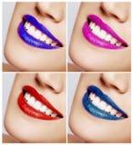Lächelnder Frauenmund mit den großen Zähnen. Abschluss oben. Stockbilder