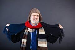 Lächelnder Geschäftsmann, der auf einem Hut und einem Schal versucht Stockbilder