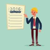 Lächelnder Geschäftsmann mit 2016 Beschlüsse des neuen Jahres listen Karikatur auf Stockfotos